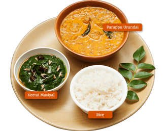 Paruppu Urundai Kulambu, Keerai Masiyal and Rice