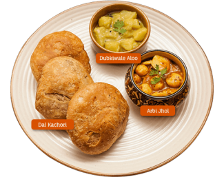 Mathura Ke Dubkiwale Aloo and Arbi Jhol with Dal Kachori