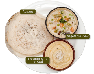 Appam, Vegetable Stew, Coconut Milk in Gud