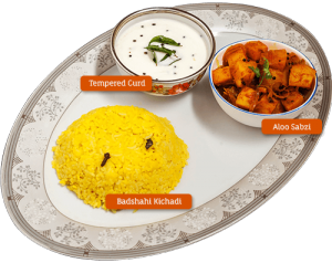 Badshahi Khichdi, aloo and tempered curd