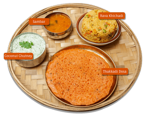 Thakkadi Dosa and Rava Khichadi with Sambar-Chutney